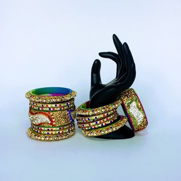 Picture of Golden Multicolor bangles