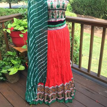 Picture of Red cotton lehenga