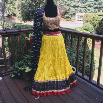 Picture of Yellow cotton Lehenga