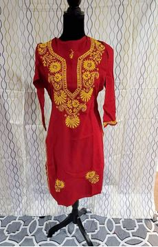 Picture of Red Embroidered  kurta