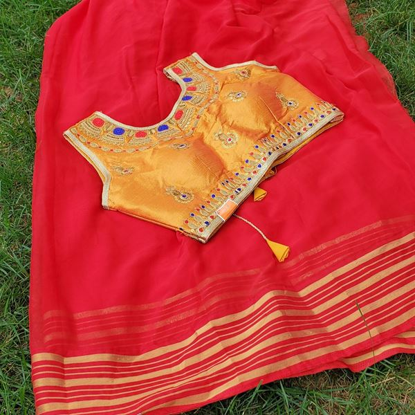 Picture of Red Chiffon saree